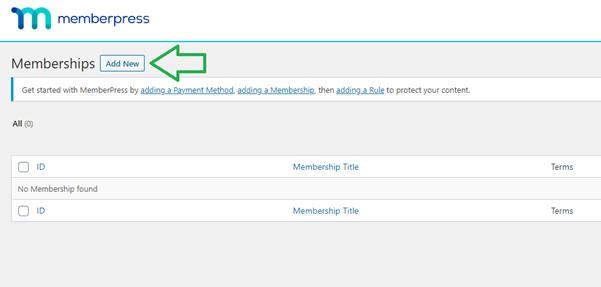 memberpress add new memberships