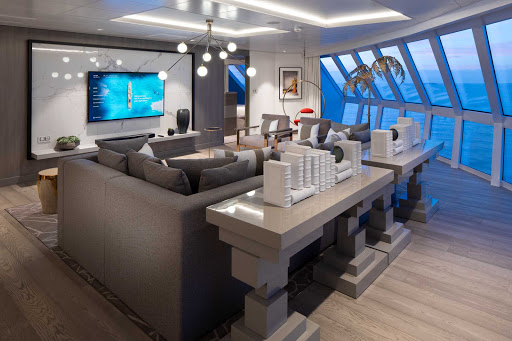 The living room of the top-of-the-line Iconic Suite on Celebrity Edge.