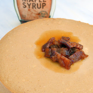 Maple Cheesecake with Candied Bacon and Salted Caramel Crust.
