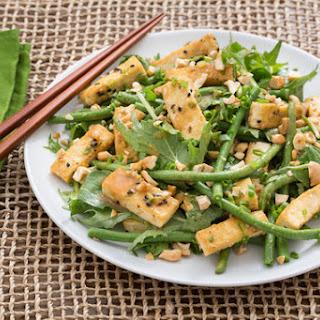 Cool Long Bean & Tofu Salad with Mizuna & Miso-Soy Vinaigrette