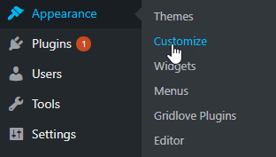 Select customize from WordPress dashboard