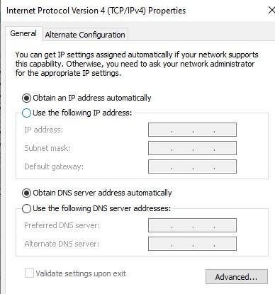 Automatically obtain an IP address Automatically obtain DNS server address