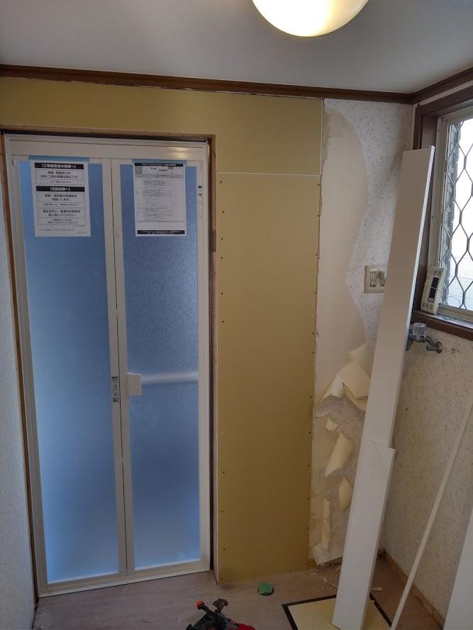 新しい浴室扉