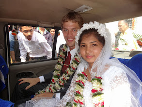 Photo: Driving from the church to the wedding reception at Phulbani