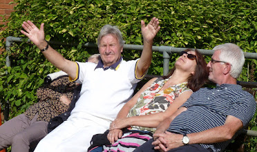 Photo: These are the people not in the shade! Chris & Bob Brown with Kath & Dave Lane. Not sure who Bob is praying to.