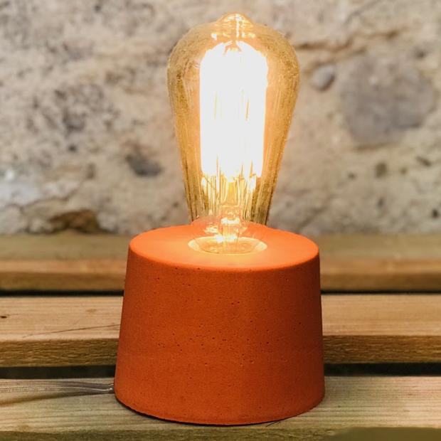 lampe béton orange design fait-main création made in france