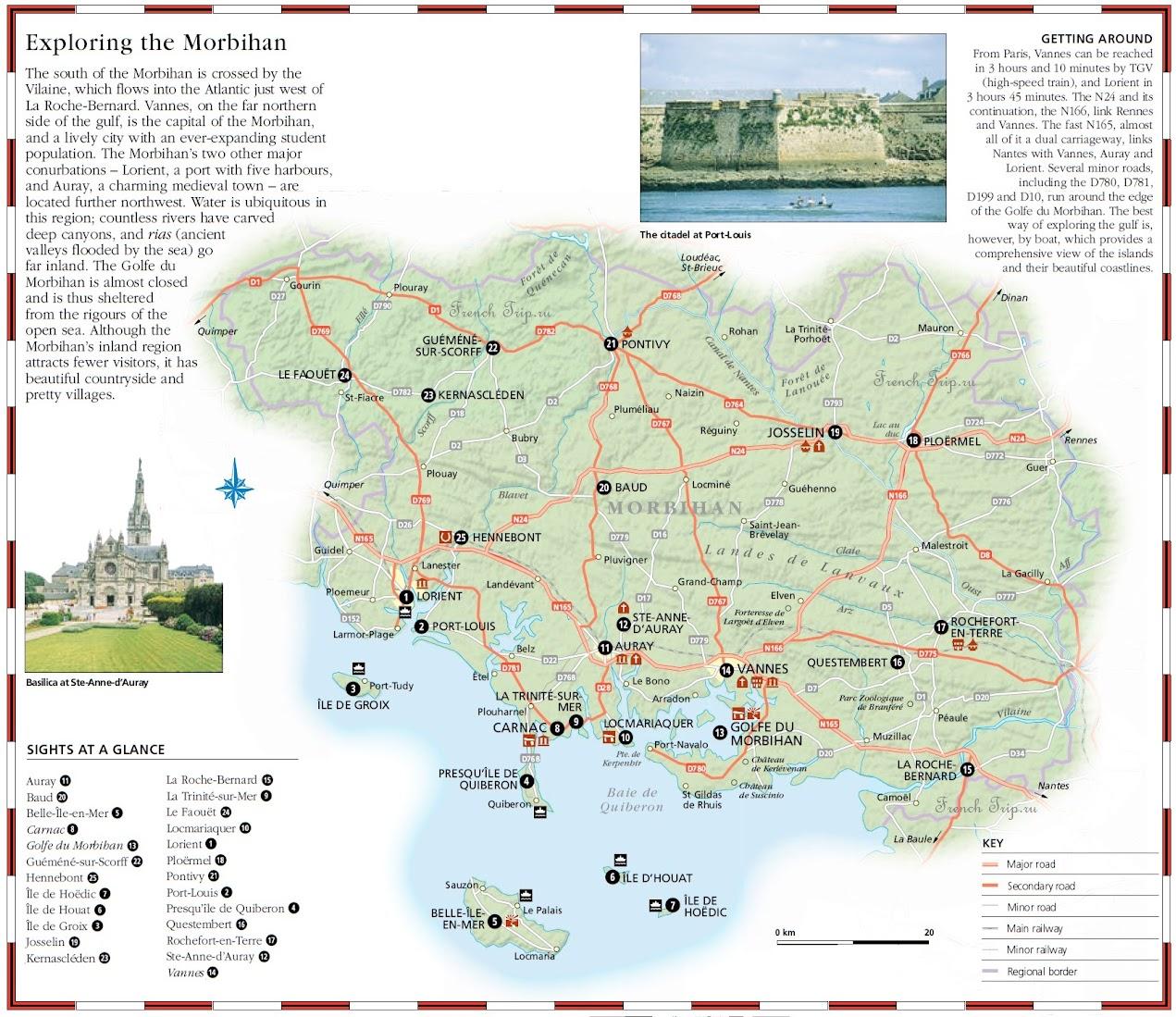 Карта и достопримечательности региона Morbihan - Карта Бретани - скачать бесплатно - достопримечательности, города, регионы, схема дорог. Что посмотреть в Бретани. Путеводитель по Бретани и Франции.