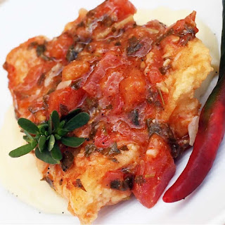 Broiled Halibut Steak with Eggplant Sauce