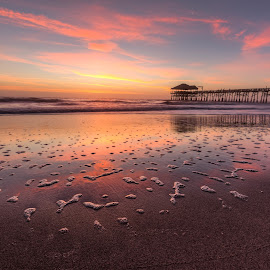 Cocoa Beach Pier Sunrise by R Jay Prusik - Landscapes Sunsets & Sunrises ( waterscape, florida, pier, sunrise, cocoa beach,  )