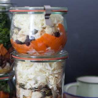 Carrot, Cabbage and Roasted Cauliflower Salad with Raisins.