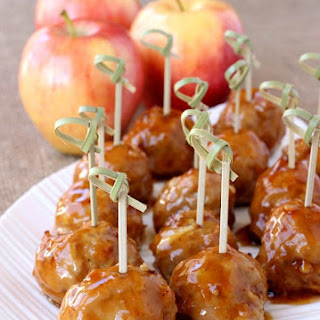 Turkey Apple Meatballs with Whiskey Glaze.