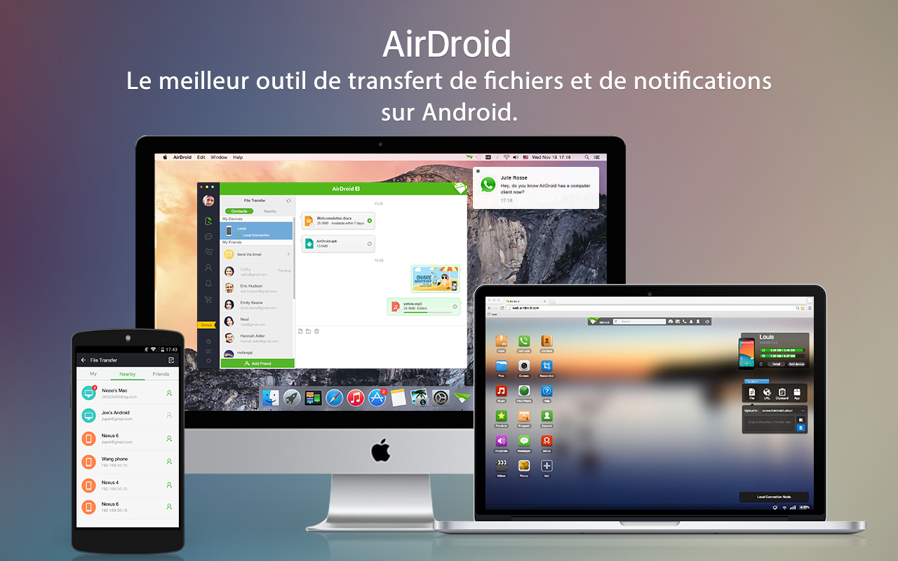 airdroid - android sur pc/mac