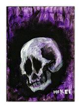 """Photo: Untitled Skull.  2.5/3.5"""" mixed medium on archival paper.  Signed and dated.  ©Marisol McKee"""