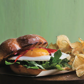 Duck Egg Sandwich with Spinach and Chipotle Cream.
