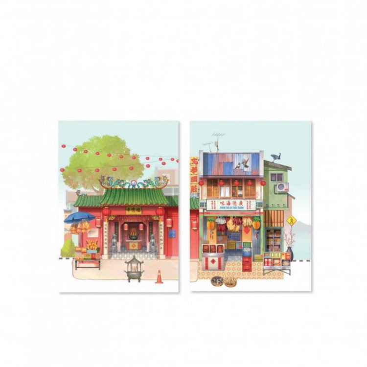 Pop Up Postcard :Temple Of Fortune And Dry Seafood by Loka Made