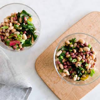 Three Bean Salad with Sautéed Chard.