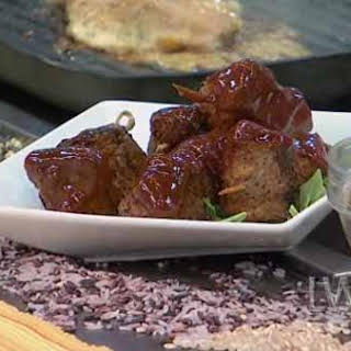 Dry-Rubbed Barbecue Beef Shish Kebabs.
