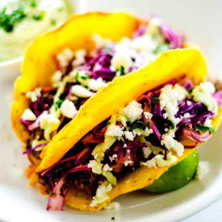Beef Taco Recipe with Cilantro Slaw and Avocado Cream.