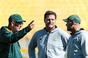 Springboks head coach and director of rugby Rassie Erasmus (C) is flanked by his coaching staff during captain's run at Westpac Stadium on Friday September 14 2018 ahead of Saturday's Rugby Championship test match against New Zealand in Wellington.