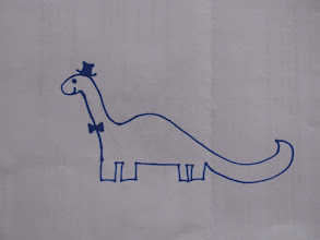 Photo: Clare's Brontosaurus in a top hat