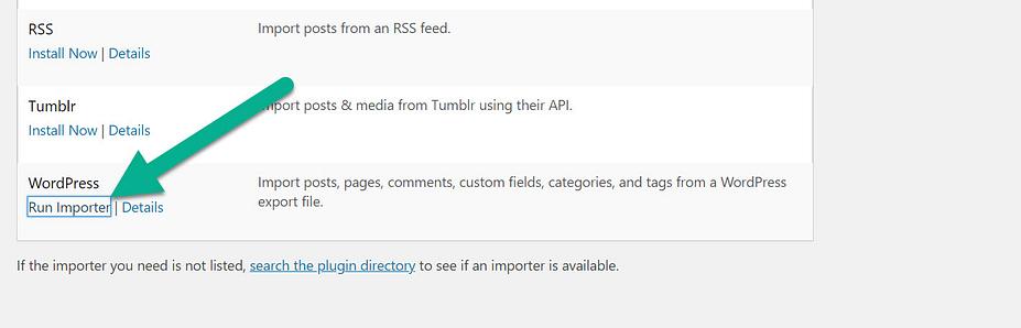 chạy trình nhập để xuất menu WordPress