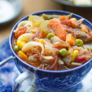 Hearty Old Fashioned Vegetable Beef Noodle Soup.