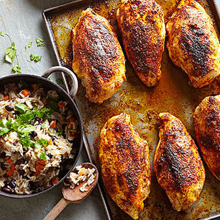 Baked Chicken Breasts with Black Bean Rice Pilaf.