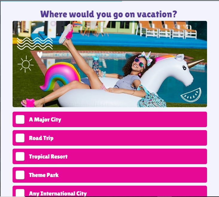 quiz question where would you go on vacation with a girl relaxing in a unicorn pool float