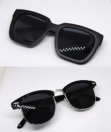 แว่นกันแดด RETRO SUNGLASS ของใหม่ สีเทาโทนดำ ดีไซน์สวย Black Lens / Black Body With UV PROTECTION มาพร้อมกัน2แบบ2ดีไซน์