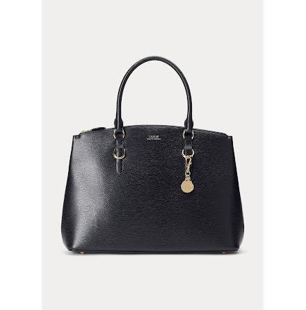 Dubbel Zipper Saffiano Leather Satchel: Large, black