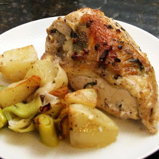Simple Roasted Chicken Breasts With Potatoes and Leeks