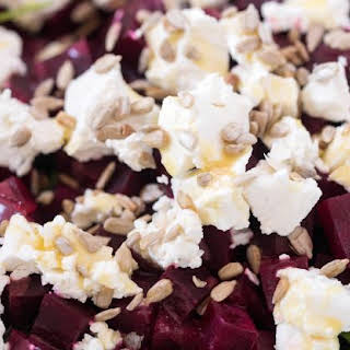 Roasted Beet and Goat Cheese Salad with Honey Mustard Dressing.