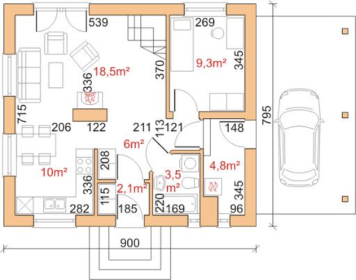 Dom przy Imbirowej 3 - Rzut parteru