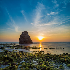 Batu Luang Sunset by Ted Khiong Liew - Landscapes Sunsets & Sunrises ( sky, seascape, green, rocks, sunset, water, sea )