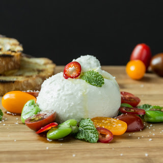 Burrata with Fava Beans, Tomatoes and Mint