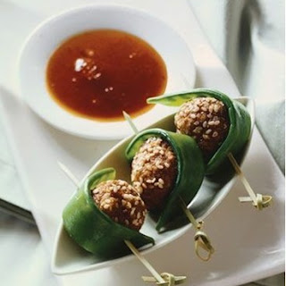 Weight Watchers Skewered Sesame Meatballs with Sweet-Sour Sauce