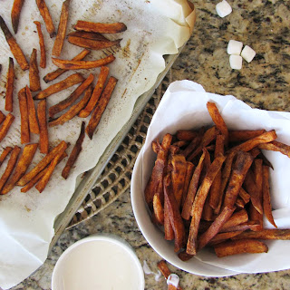 Baked Sweet Potato Fries With Marshmallow Dip