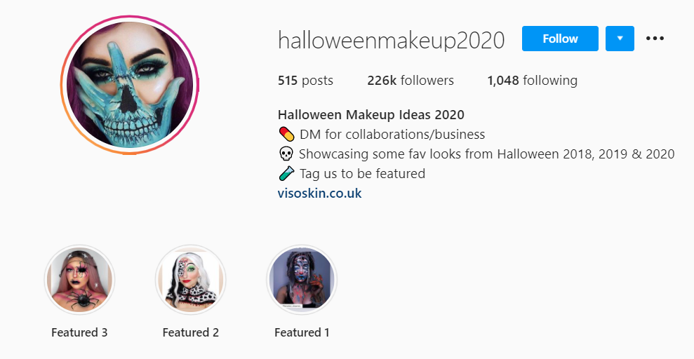 Halloween makeup in profile picture
