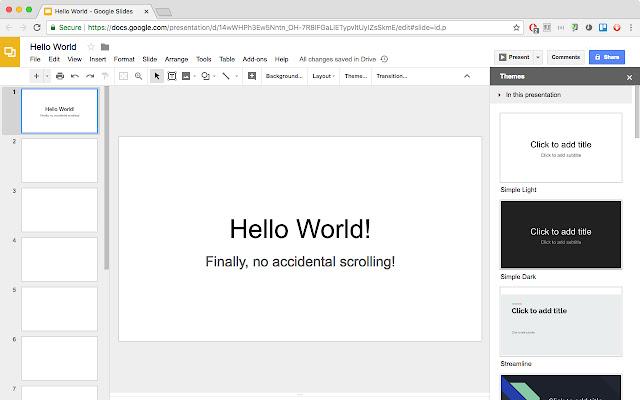 Stop Slide Scrolling in Google Presentation