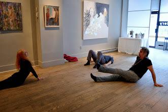 Photo: Warm-up at the Dance Jam 18 Jan 2014 at Urban Gallery. Brenda Clews in cobra, John Oughton on his back, Nik Beat doing leg lifts. Photo by Jennifer Hosein. It was fun!