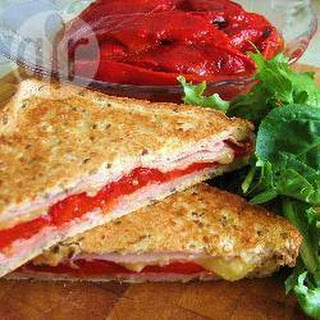 Toasted Ham and Roasted Capsicum Sandwich