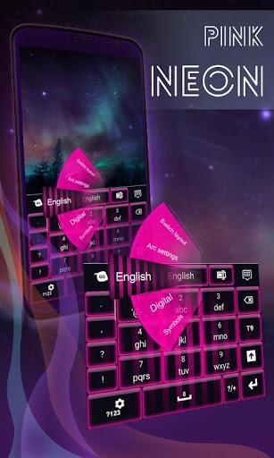 ピンクのネオンキーボードのテーマ