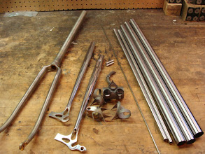 Photo: I got a bit ahead on the chainstays and fork, but here's the rest of the raw materials.