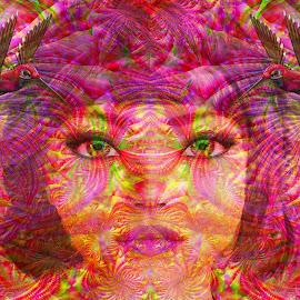 Green eyes by Cassy 67 - Illustration Abstract & Patterns ( digital, modern art, love, harmony, art, abstract art, trippy, psyart, abstract, artwork, fractals, digital art, psychedelic, modern, light, fractal, energy )