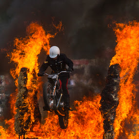 White Helmet's Fire Ride by Ceri Jones - People Musicians & Entertainers ( motercycle, disolay, royal, .fire, show, display, team, signals, royal signals motorcycle displayteam,  )