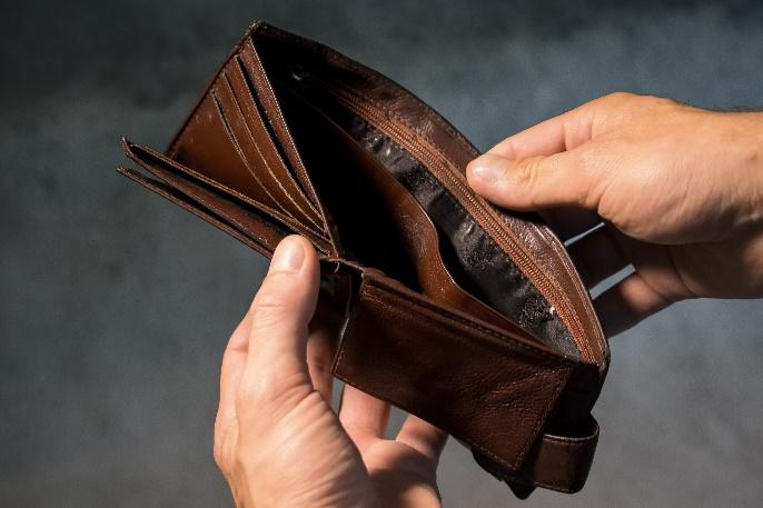 portfel, brak pieniędzy