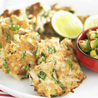 Crab Cakes with Avocado Salsa.