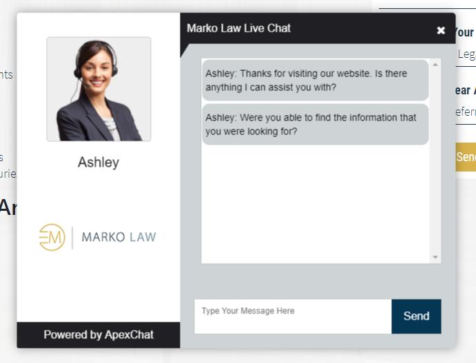 Law firm website's instant messaging pop-up widget example