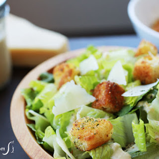 Eggless Caesar Salad Dressing and Croutons