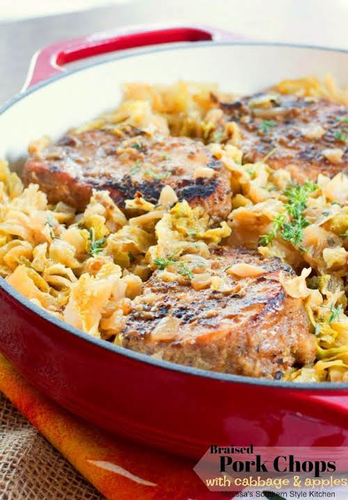 "Braised Pork Chops With Cabbage and Apples""Cajun rubbed thick cut pork chops..."